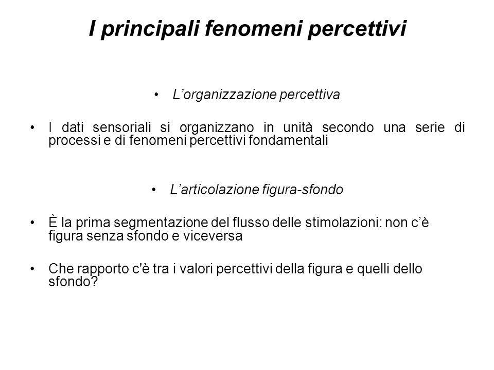 I principali fenomeni percettivi Lorganizzazione percettiva I dati sensoriali si organizzano in unità secondo una serie di processi e di fenomeni perc