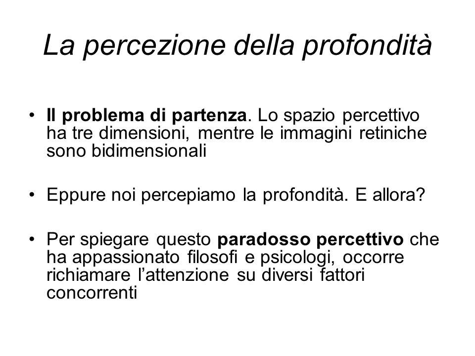 La percezione della profondità Il problema di partenza. Lo spazio percettivo ha tre dimensioni, mentre le immagini retiniche sono bidimensionali Eppur