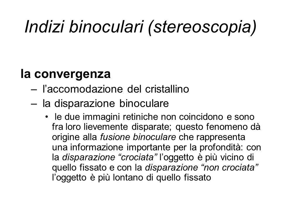 Indizi binoculari (stereoscopia) la convergenza – laccomodazione del cristallino – la disparazione binoculare le due immagini retiniche non coincidono