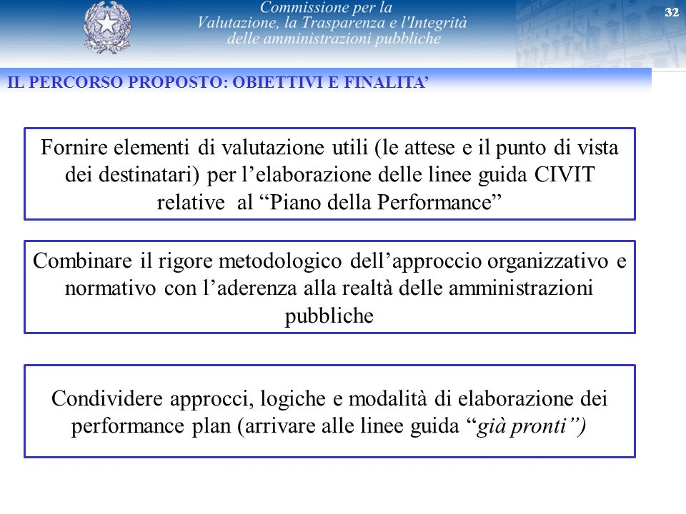 32 IL PERCORSO PROPOSTO: OBIETTIVI E FINALITA Fornire elementi di valutazione utili (le attese e il punto di vista dei destinatari) per lelaborazione
