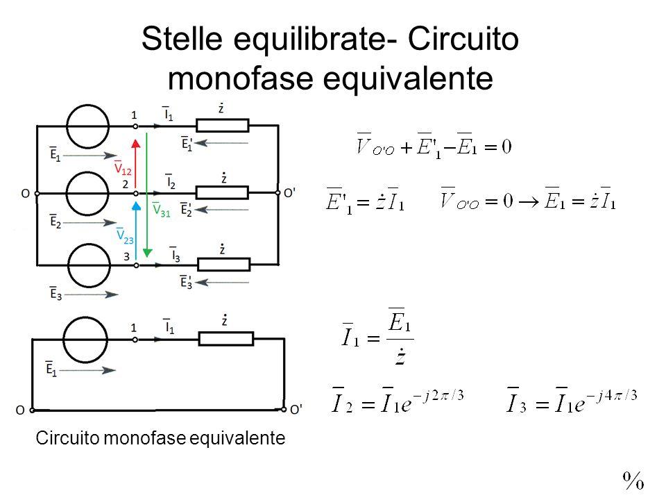 Stelle equilibrate- Circuito monofase equivalente Circuito monofase equivalente