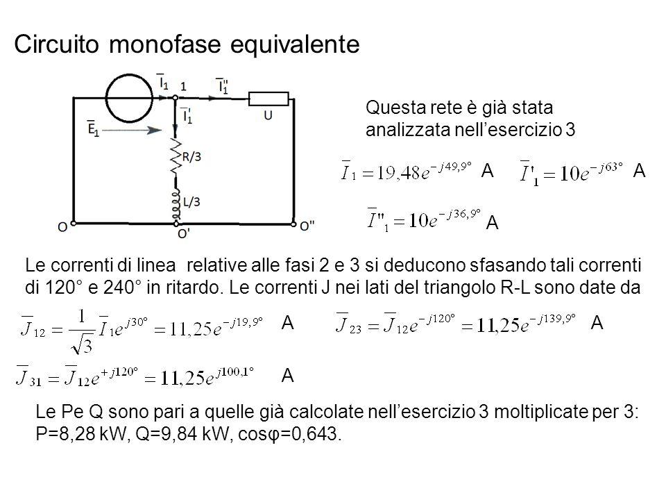 Circuito monofase equivalente Questa rete è già stata analizzata nellesercizio 3 Le correnti di linea relative alle fasi 2 e 3 si deducono sfasando tali correnti di 120° e 240° in ritardo.