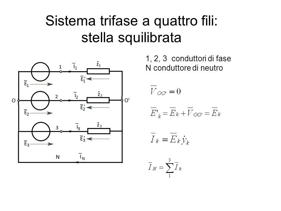 Sistema trifase a quattro fili: stella squilibrata 1, 2, 3 conduttori di fase N conduttore di neutro