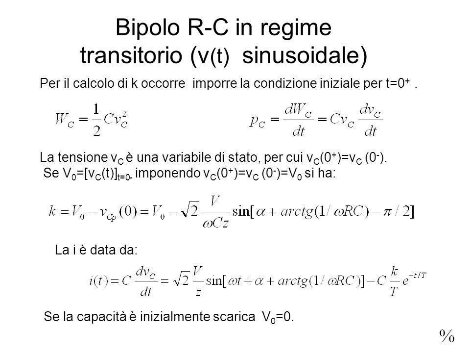 Bipolo R-C in regime transitorio (v (t) sinusoidale) La tensione v C è una variabile di stato, per cui v C (0 + )=v C (0 - ).