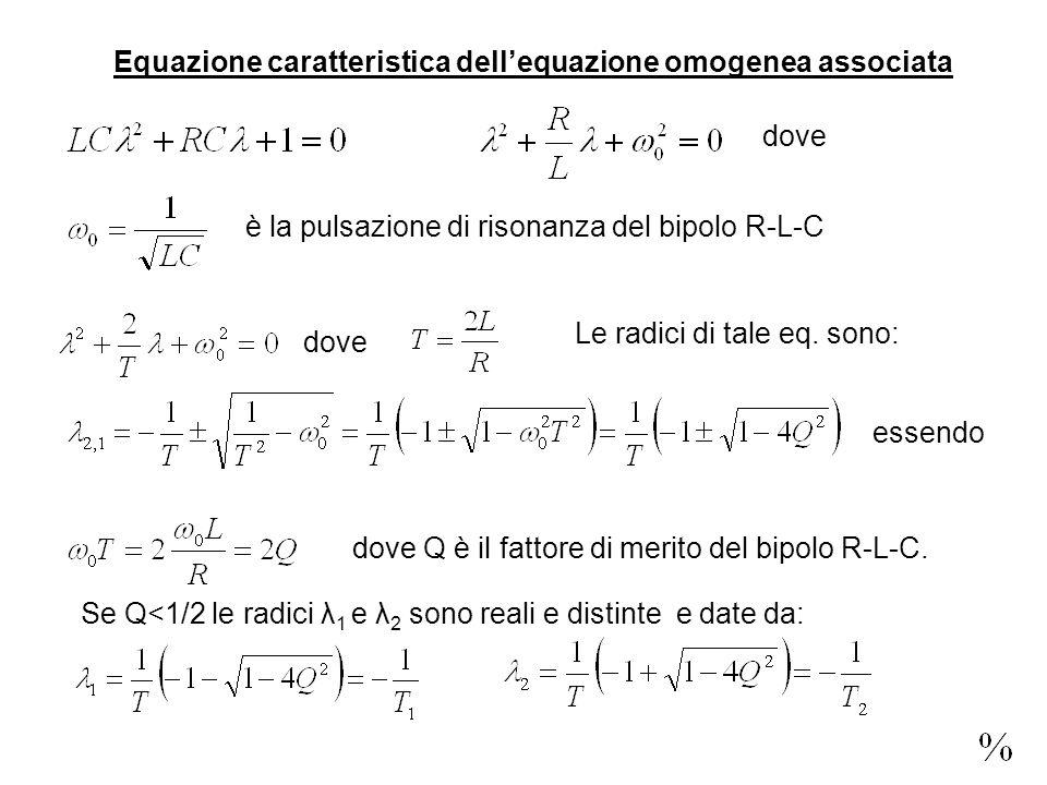 Equazione caratteristica dellequazione omogenea associata dove è la pulsazione di risonanza del bipolo R-L-C dove Le radici di tale eq.