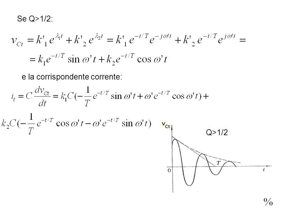 Se Q>1/2: e la corrispondente corrente: Q>1/2