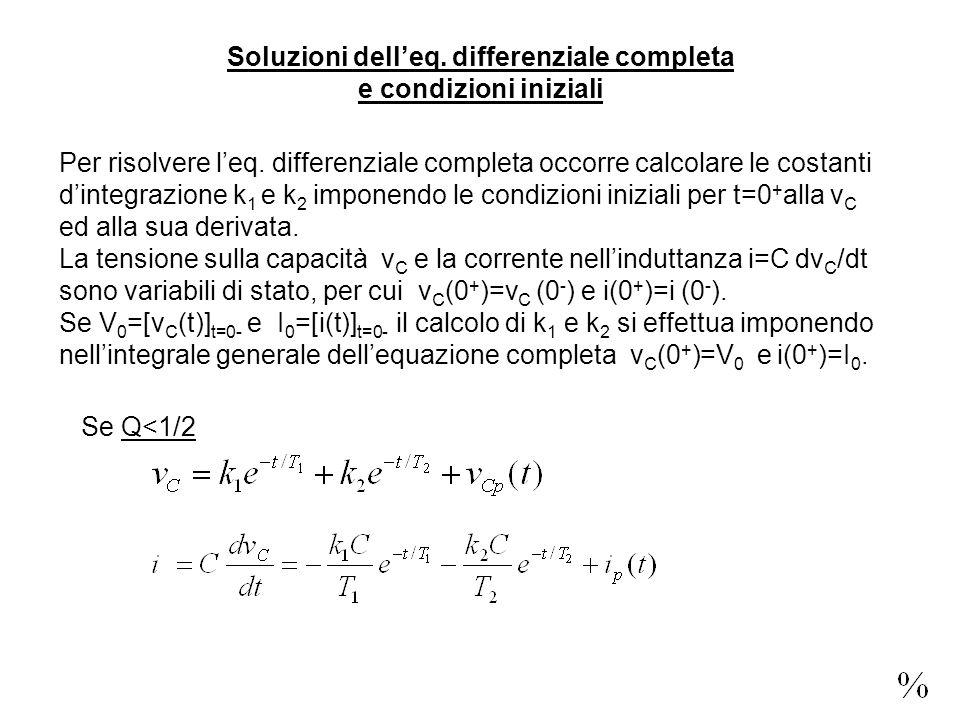 Soluzioni delleq. differenziale completa e condizioni iniziali Per risolvere leq.