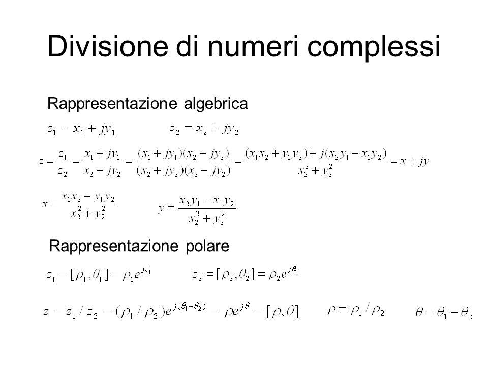 Divisione di numeri complessi Rappresentazione algebrica Rappresentazione polare