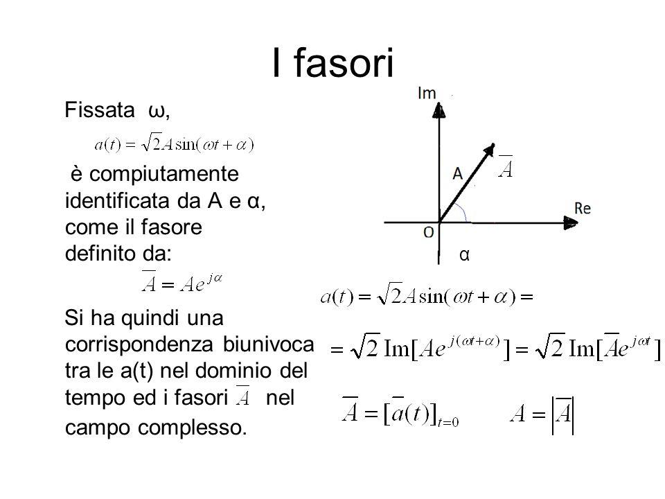 I fasori Fissata ω, è compiutamente identificata da A e α, come il fasore definito da: Si ha quindi una corrispondenza biunivoca tra le a(t) nel dominio del tempo ed i fasori nel campo complesso.