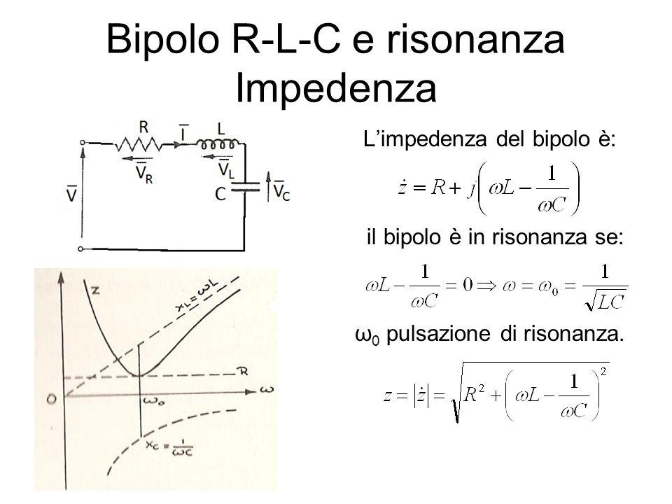 Bipolo R-L-C e risonanza Impedenza Limpedenza del bipolo è: il bipolo è in risonanza se: ω 0 pulsazione di risonanza.