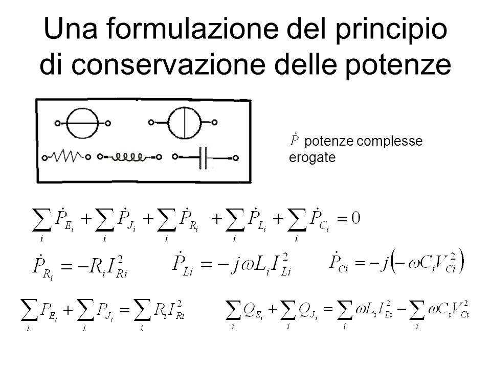 Una formulazione del principio di conservazione delle potenze potenze complesse erogate