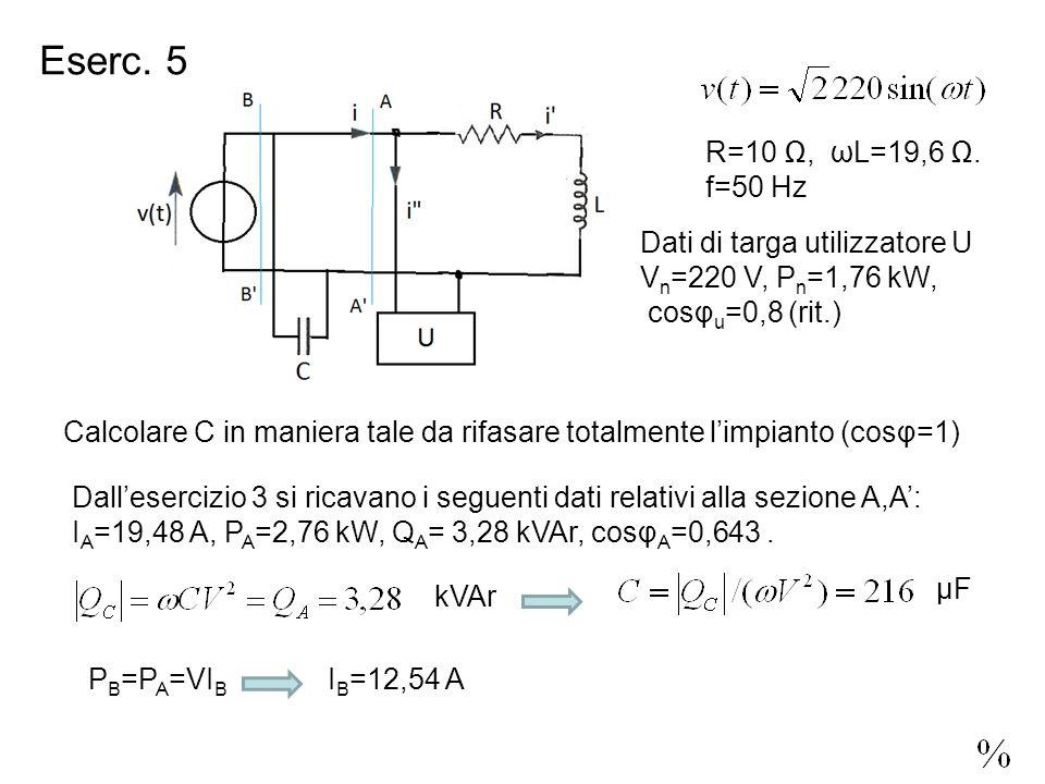 Eserc. 5 R=10, ωL=19,6.