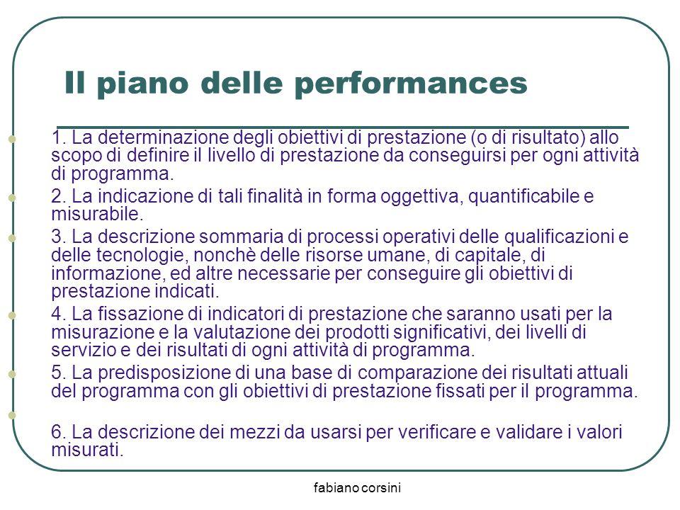 fabiano corsini Il piano delle performances 1. La determinazione degli obiettivi di prestazione (o di risultato) allo scopo di definire il livello di