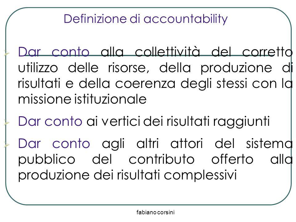 fabiano corsini Definizione di accountability Dar conto alla collettività del corretto utilizzo delle risorse, della produzione di risultati e della c
