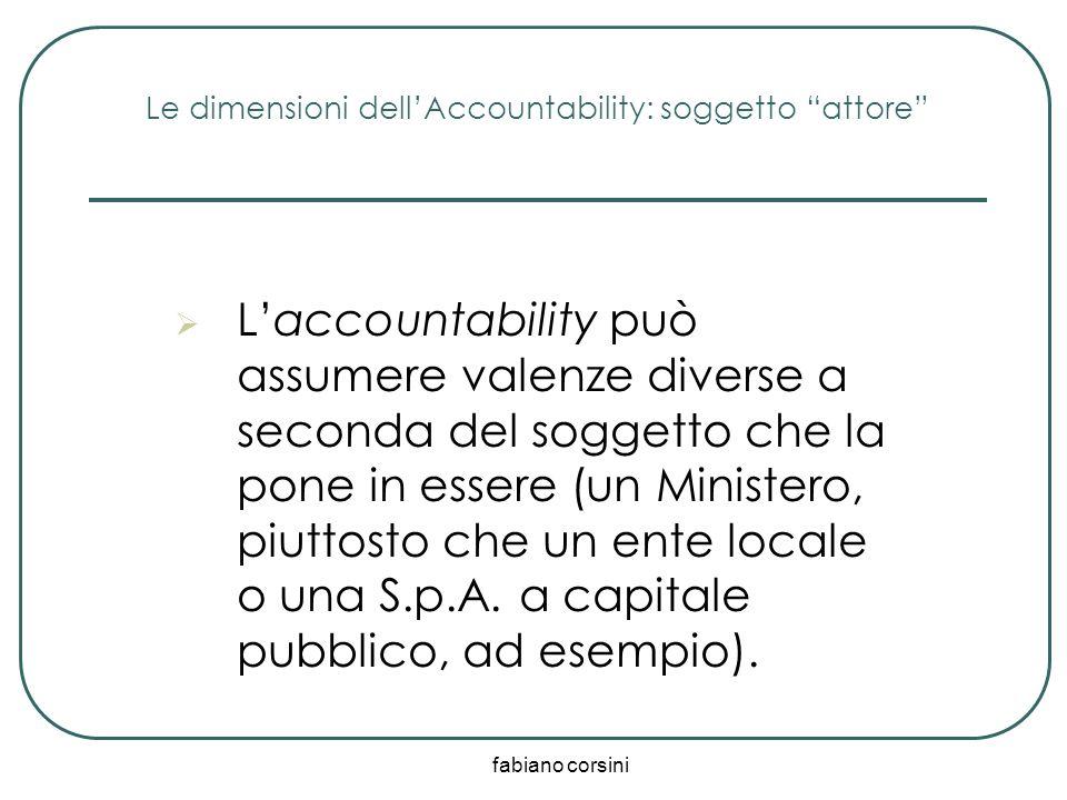 fabiano corsini Le dimensioni dellAccountability: soggetto attore Laccountability può assumere valenze diverse a seconda del soggetto che la pone in e