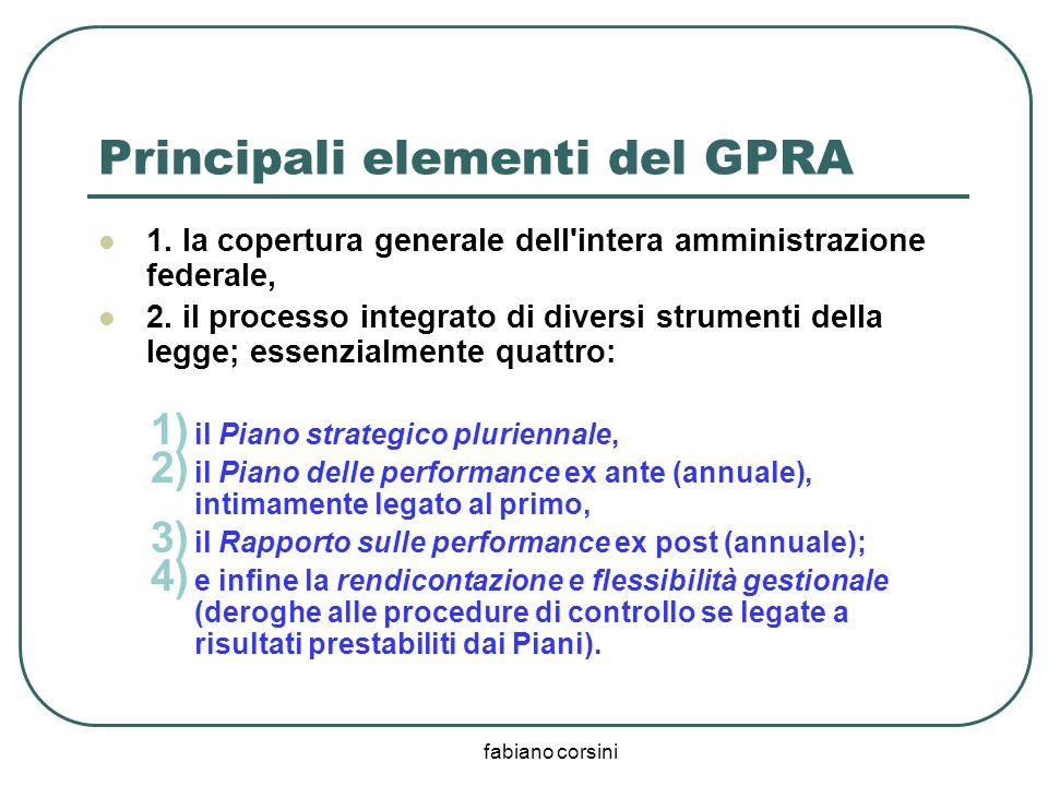 fabiano corsini Principali elementi del GPRA 1. la copertura generale dell'intera amministrazione federale, 2. il processo integrato di diversi strume