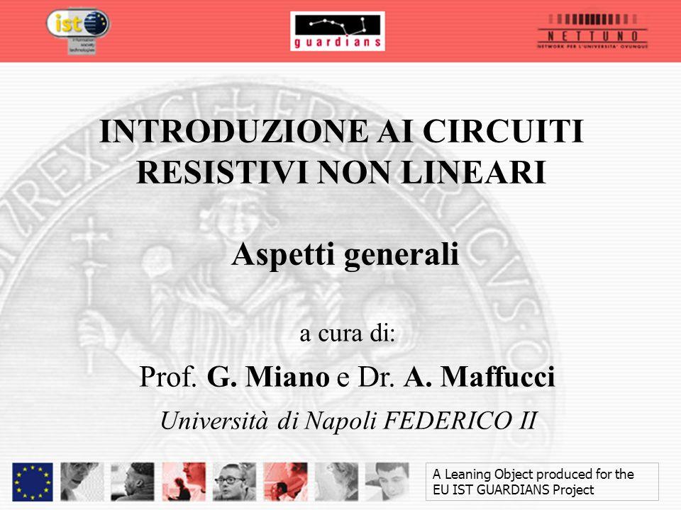 a cura di: Prof. G. Miano e Dr. A. Maffucci Università di Napoli FEDERICO II A Leaning Object produced for the EU IST GUARDIANS Project INTRODUZIONE A
