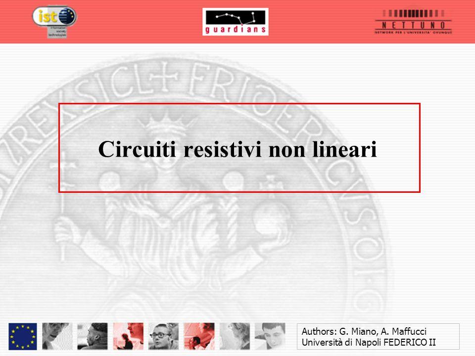 Authors: G. Miano, A. Maffucci Università di Napoli FEDERICO II Circuiti resistivi non lineari