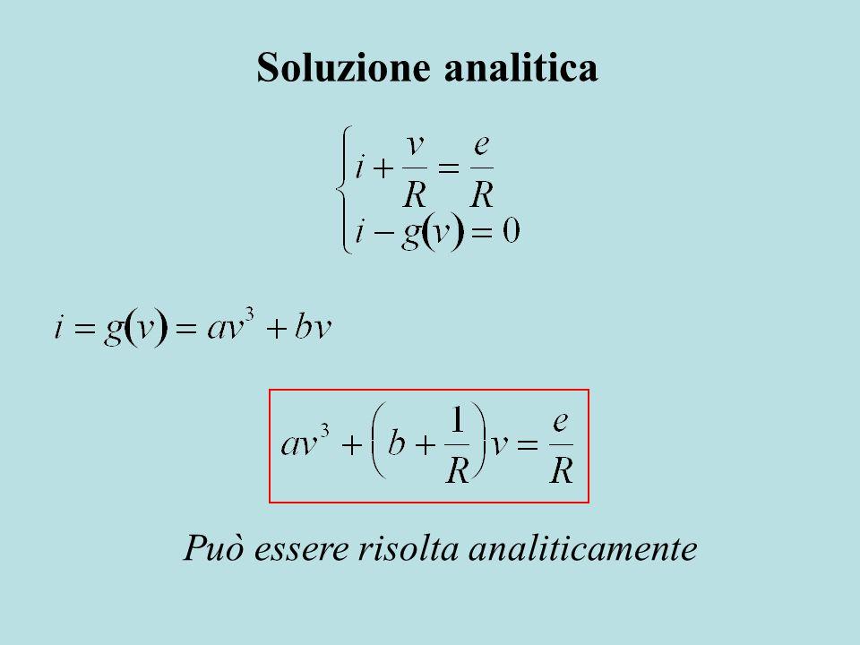 Soluzione analitica Può essere risolta analiticamente