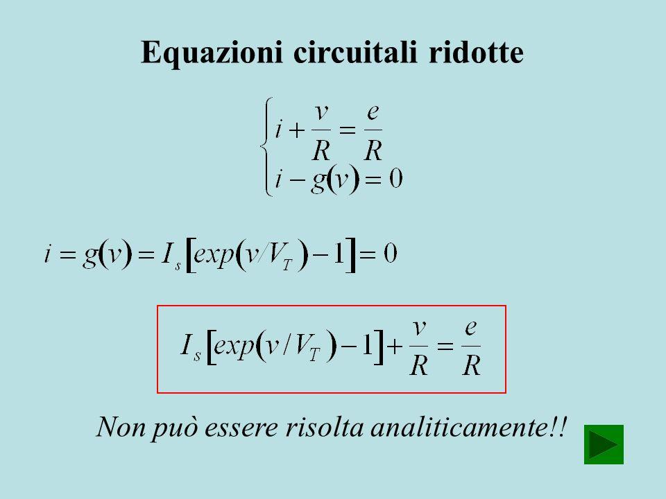 Equazioni circuitali ridotte Non può essere risolta analiticamente!!