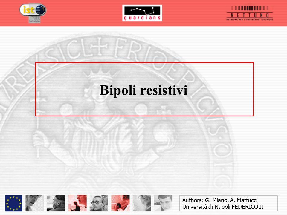 Authors: G. Miano, A. Maffucci Università di Napoli FEDERICO II Bipoli resistivi