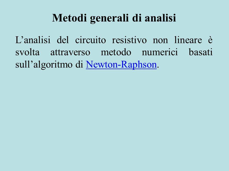 Metodi generali di analisi Lanalisi del circuito resistivo non lineare è svolta attraverso metodo numerici basati sullalgoritmo di Newton-Raphson.Newt
