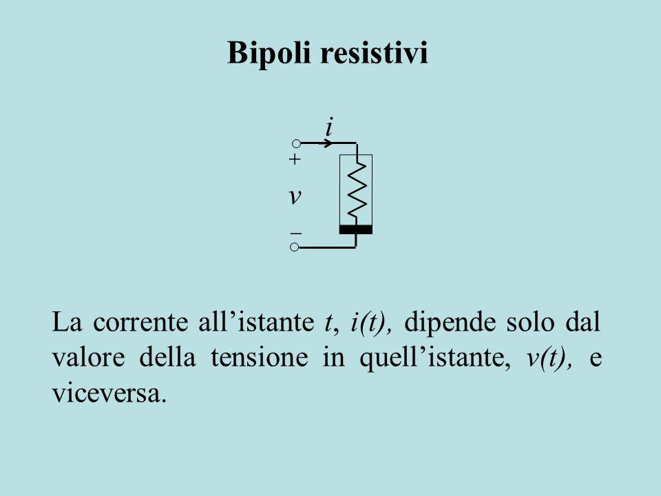 La corrente allistante t, i(t), dipende solo dal valore della tensione in quellistante, v(t), e viceversa. i v Bipoli resistivi