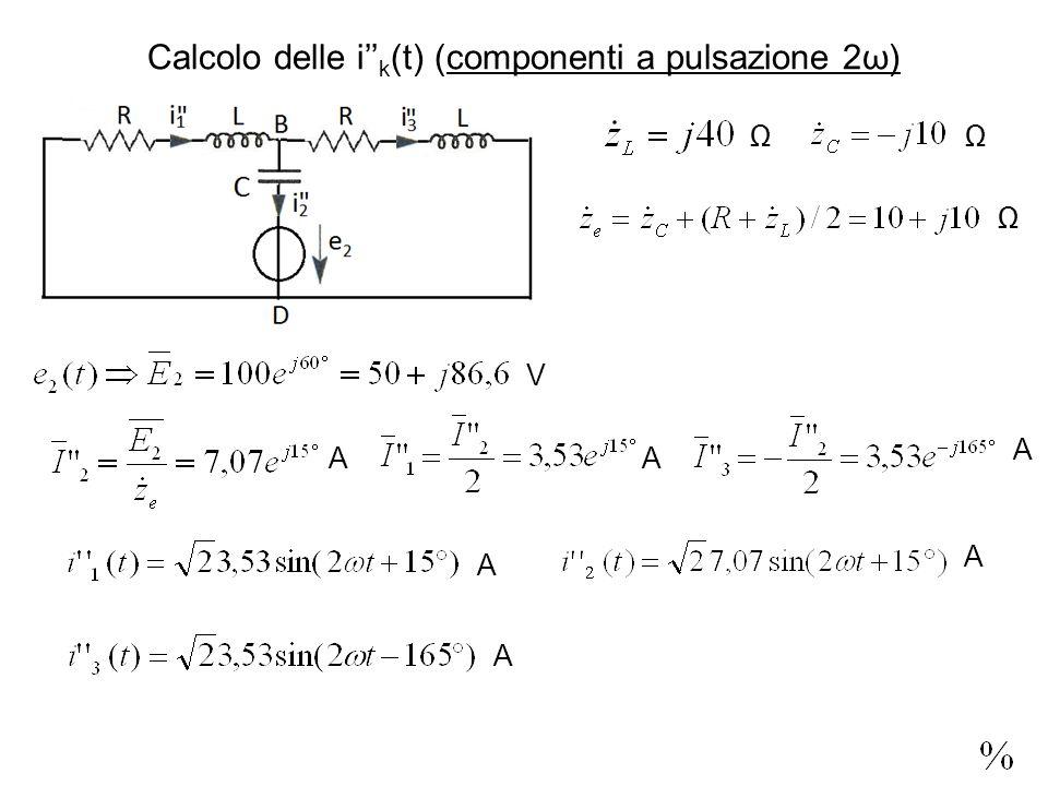 Calcolo delle i k (t) (componenti a pulsazione 2ω) V AA A A A A