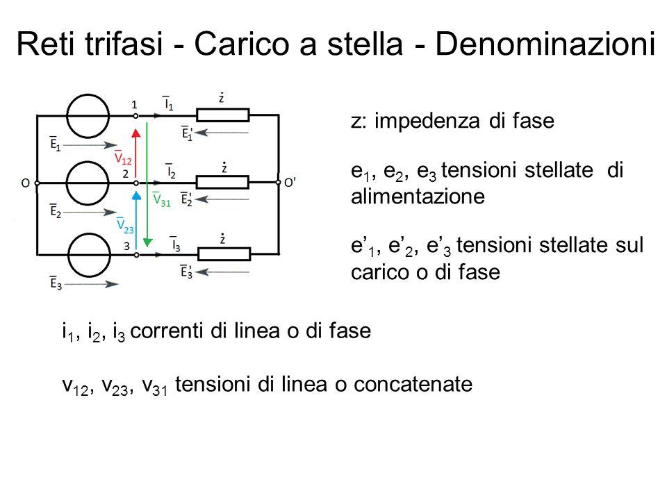 Reti trifasi - Carico a stella - Denominazioni z: impedenza di fase e 1, e 2, e 3 tensioni stellate di alimentazione e 1, e 2, e 3 tensioni stellate sul carico o di fase i 1, i 2, i 3 correnti di linea o di fase v 12, v 23, v 31 tensioni di linea o concatenate