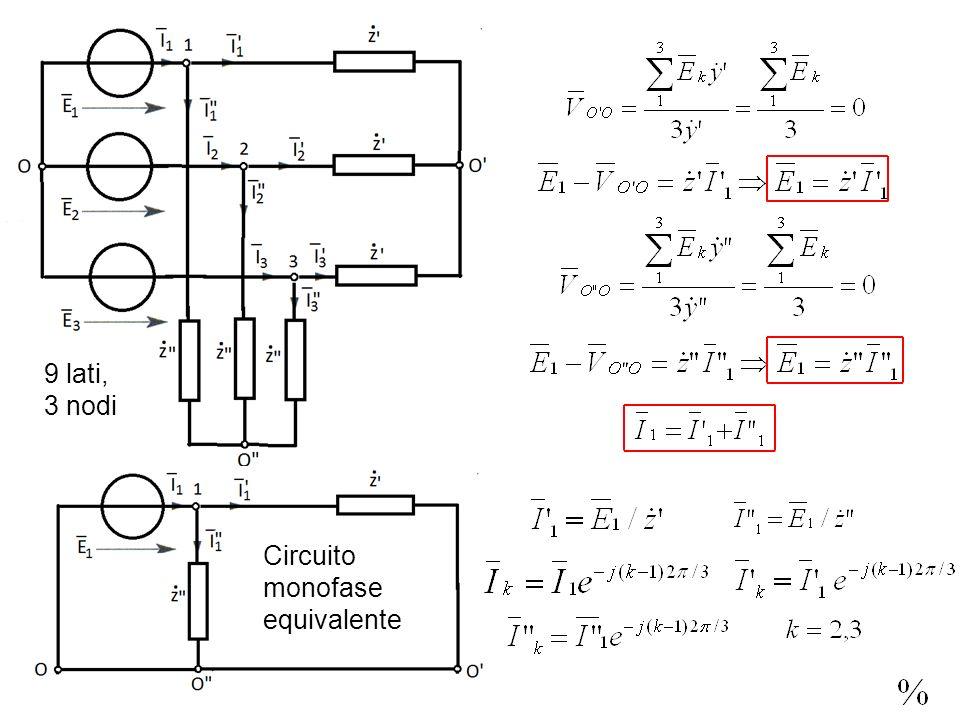9 lati, 3 nodi Circuito monofase equivalente