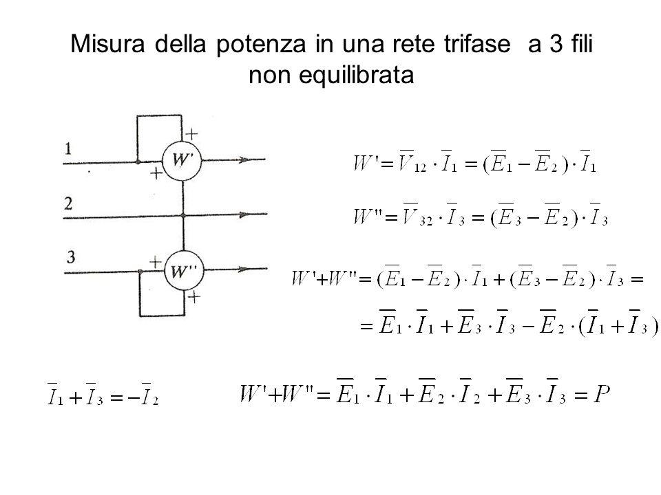Misura della potenza in una rete trifase a 3 fili non equilibrata