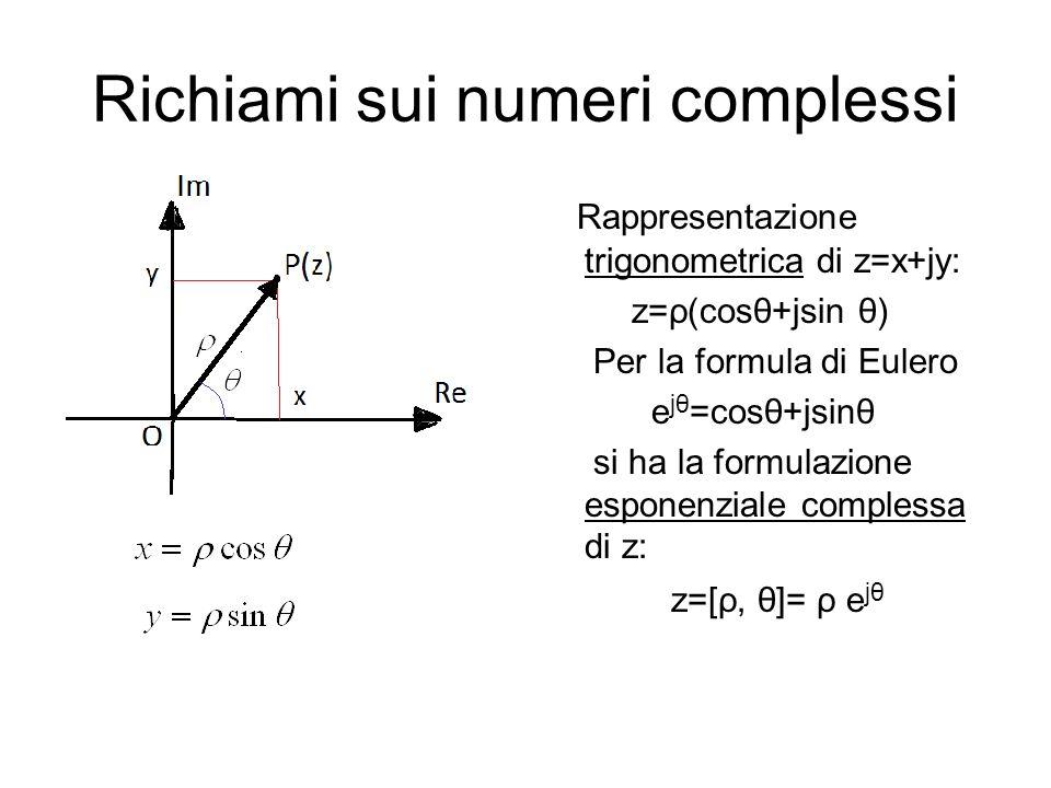 Richiami sui numeri complessi Rappresentazione trigonometrica di z=x+jy: z=ρ(cosθ+jsin θ) Per la formula di Eulero e jθ =cosθ+jsinθ si ha la formulazione esponenziale complessa di z: z=[ρ, θ]= ρ e jθ