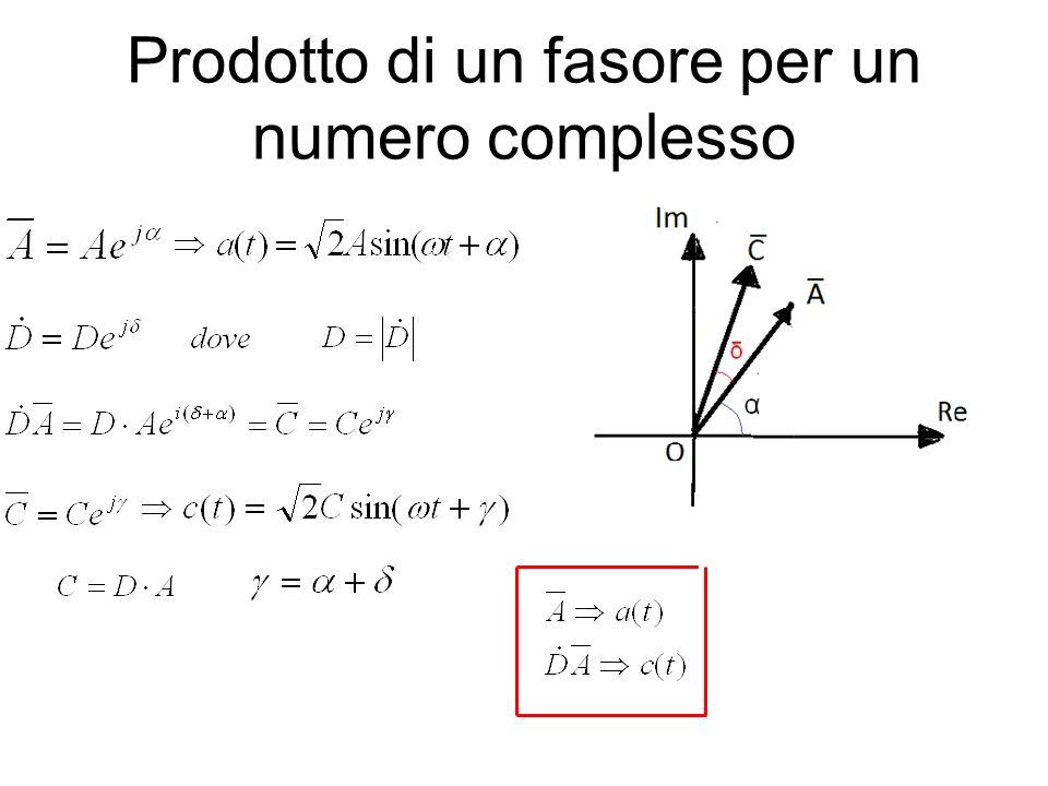 Prodotto di un fasore per un numero complesso