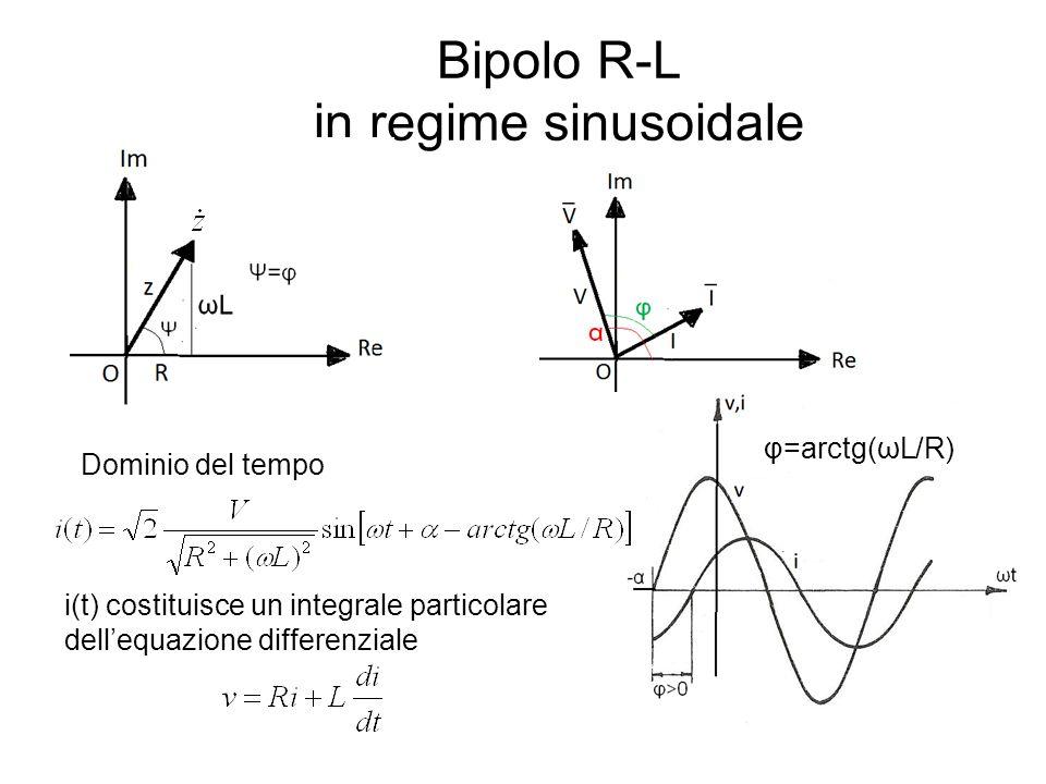 Bipolo R-L in regime sinusoidale Dominio del tempo i(t) costituisce un integrale particolare dellequazione differenziale φ=arctg(ωL/R)