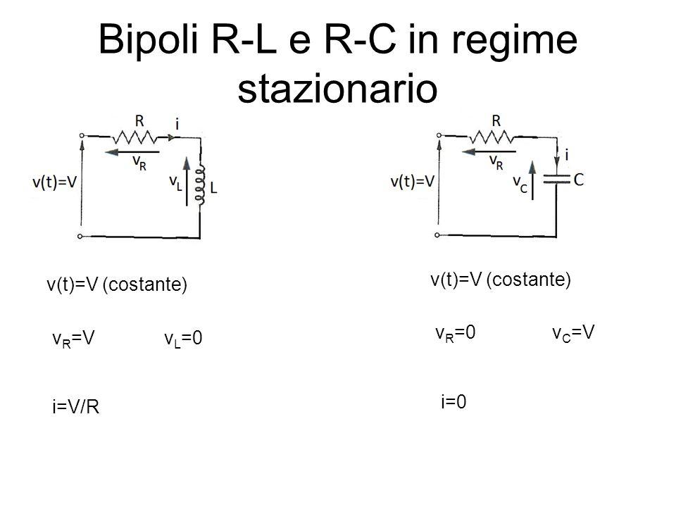 Bipoli R-L e R-C in regime stazionario v(t)=V (costante) v R =Vv L =0 i=V/R v(t)=V (costante) v R =0v C =V i=0