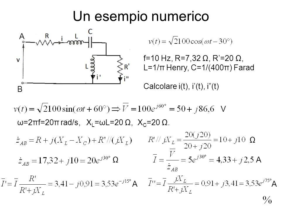 Un esempio numerico f=10 Hz, R=7,32, R=20, L=1/π Henry, C=1/(400π) Farad Calcolare i(t), i(t), i(t) ω=2πf=20π rad/s, X L =ωL=20, X C =20.