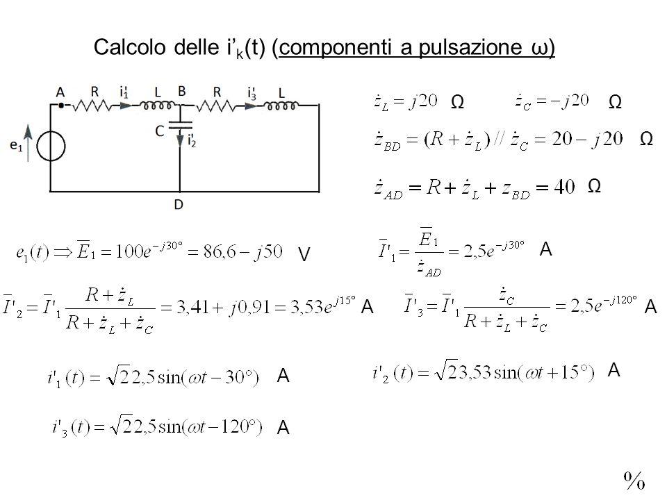 Calcolo delle i k (t) (componenti a pulsazione ω) V A AA A A A