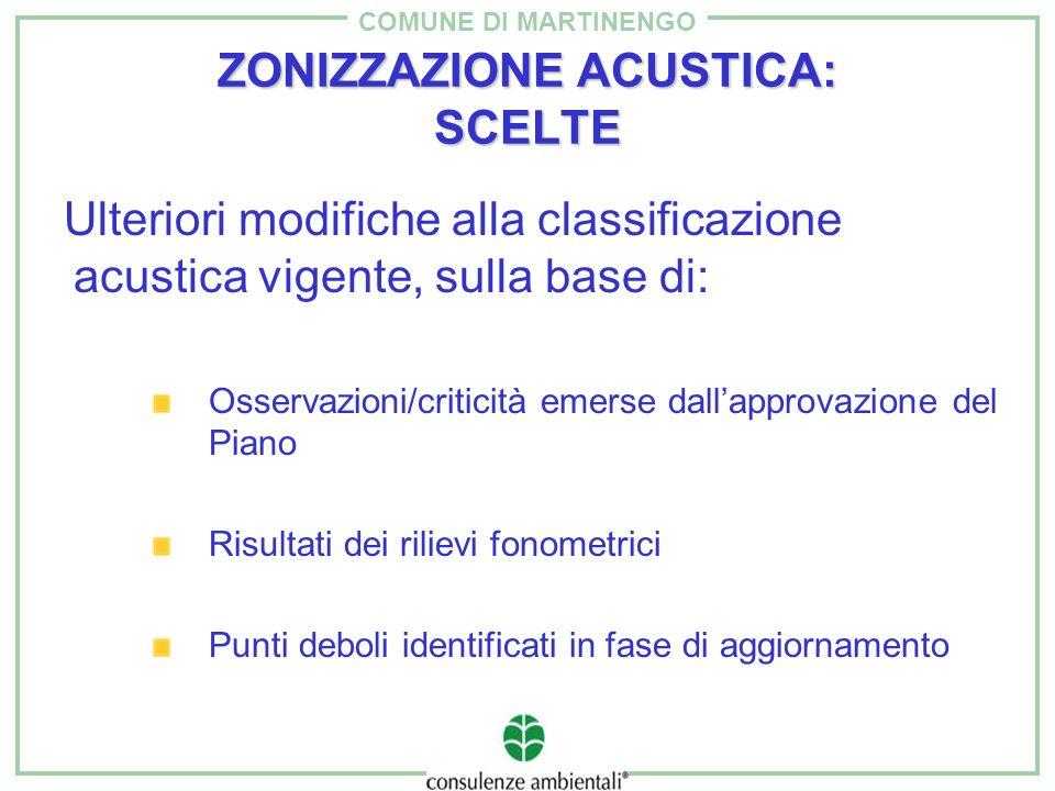COMUNE DI MARTINENGO ZONIZZAZIONE ACUSTICA: SCELTE Ulteriori modifiche alla classificazione acustica vigente, sulla base di: Osservazioni/criticità em