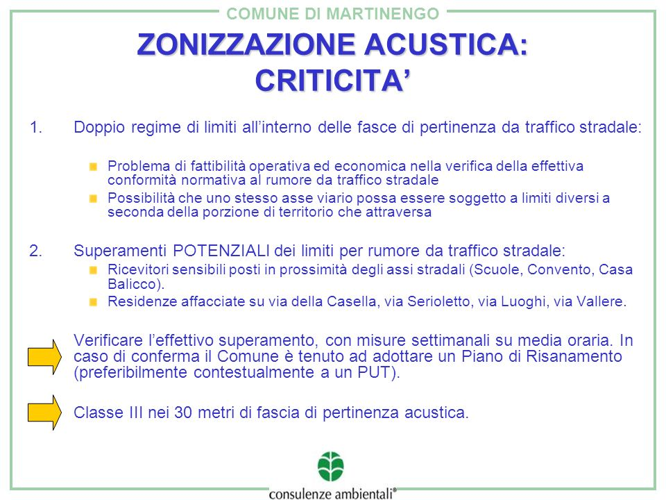 COMUNE DI MARTINENGO ZONIZZAZIONE ACUSTICA: CRITICITA 1.Doppio regime di limiti allinterno delle fasce di pertinenza da traffico stradale: Problema di