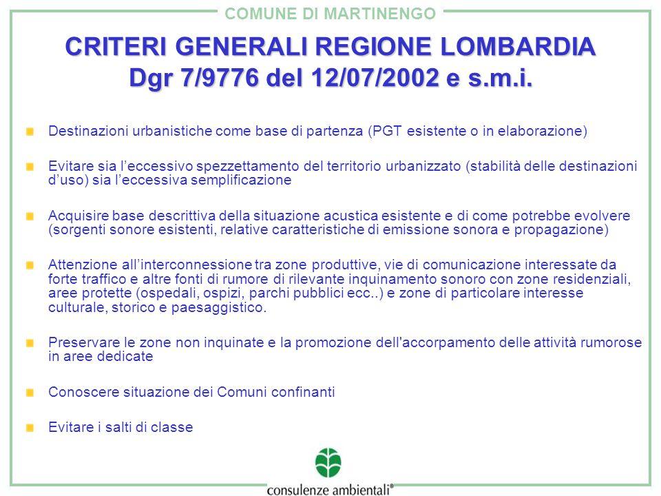 COMUNE DI MARTINENGO CRITERI GENERALI REGIONE LOMBARDIA Dgr 7/9776 del 12/07/2002 e s.m.i. Destinazioni urbanistiche come base di partenza (PGT esiste