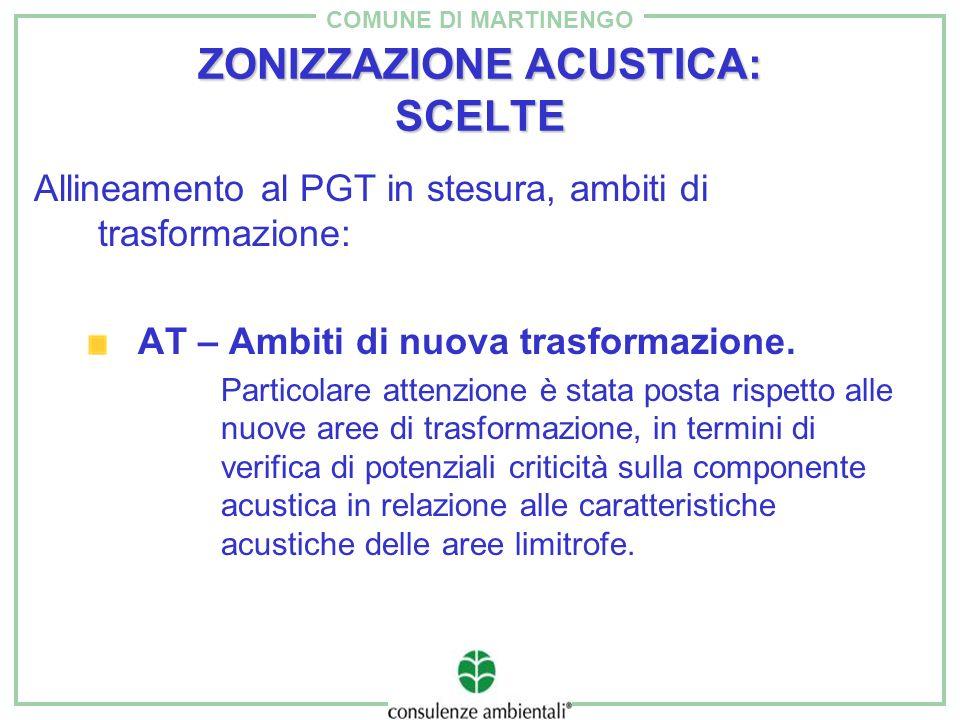 COMUNE DI MARTINENGO ZONIZZAZIONE ACUSTICA: SCELTE Allineamento al PGT in stesura, ambiti di trasformazione: AT – Ambiti di nuova trasformazione. Part