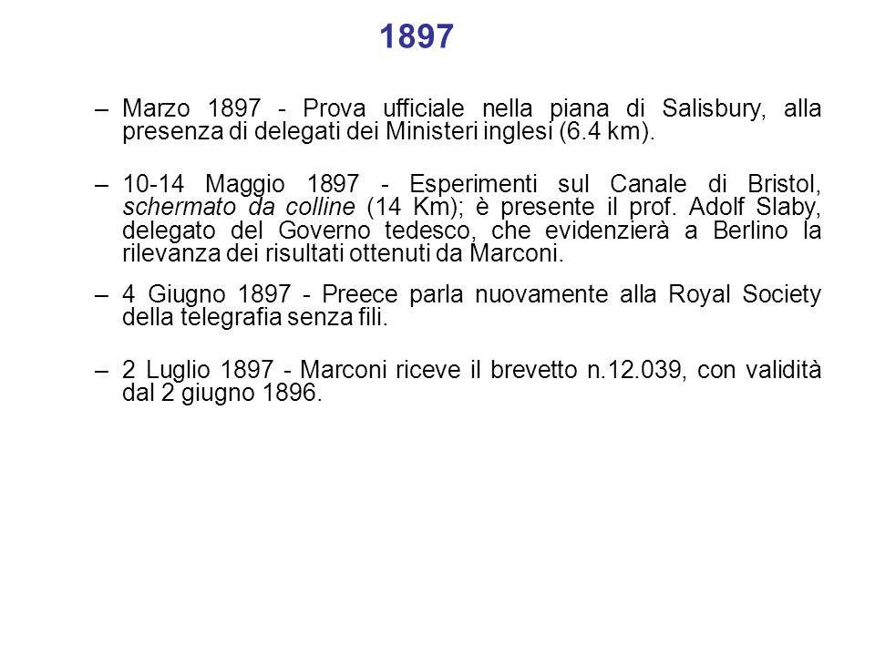 –2 Luglio 1897 - Marconi riceve il brevetto n.12.039, con validità dal 2 giugno 1896. –4 Giugno 1897 - Preece parla nuovamente alla Royal Society dell
