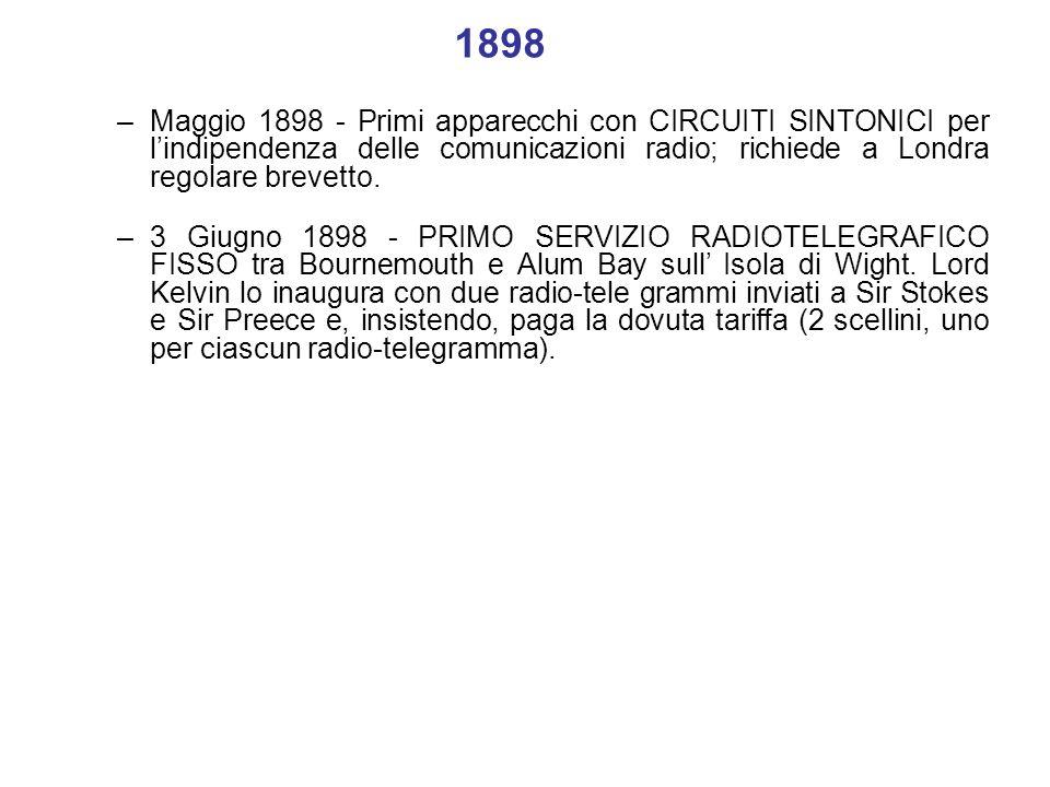 1898 –Maggio 1898 - Primi apparecchi con CIRCUITI SINTONICI per lindipendenza delle comunicazioni radio; richiede a Londra regolare brevetto. –3 Giugn