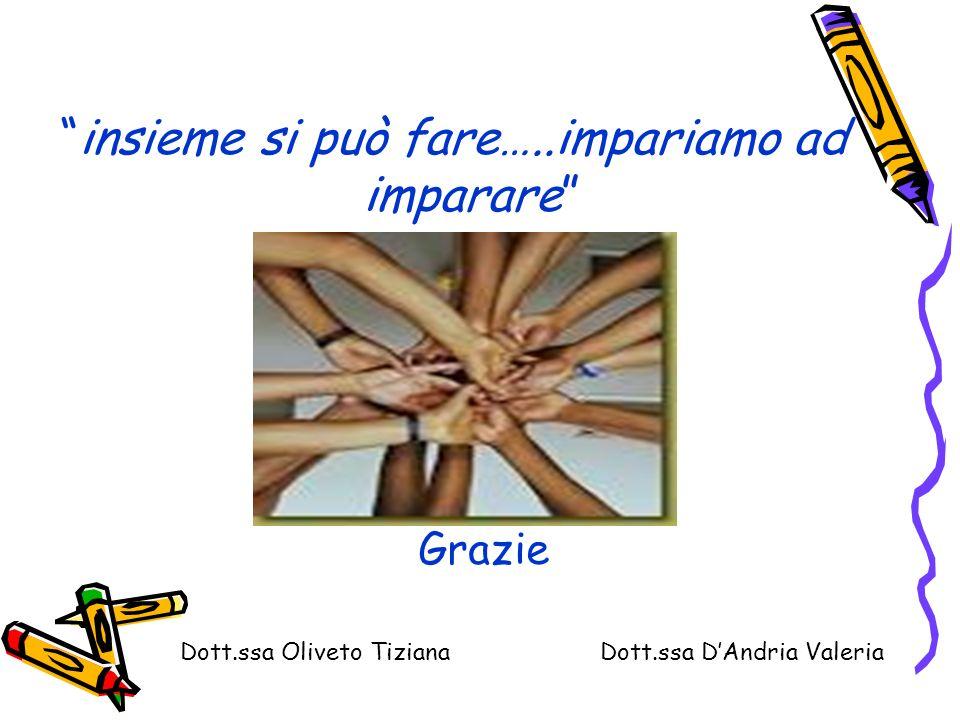 insieme si può fare…..impariamo ad imparare Grazie Dott.ssa Oliveto Tiziana Dott.ssa DAndria Valeria