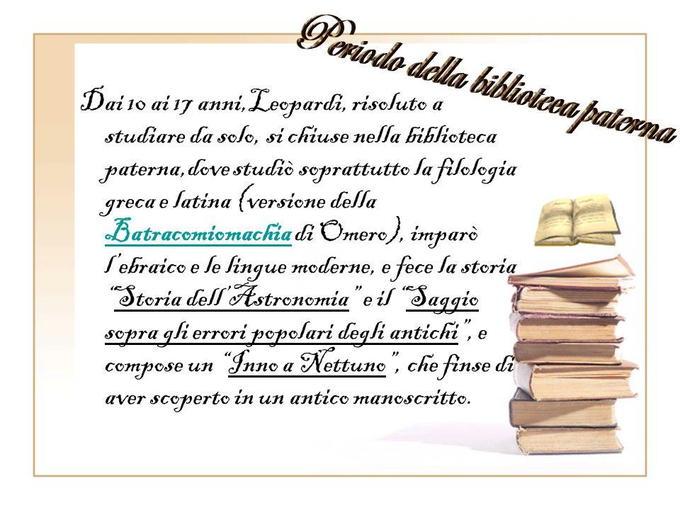 Giacomo Leopardi nacque a Recanati nel 1798 dalla famiglia dei conti Leopardi. Dingegno precocissimo,incompreso dai familiari, acquisì una prodigiosa
