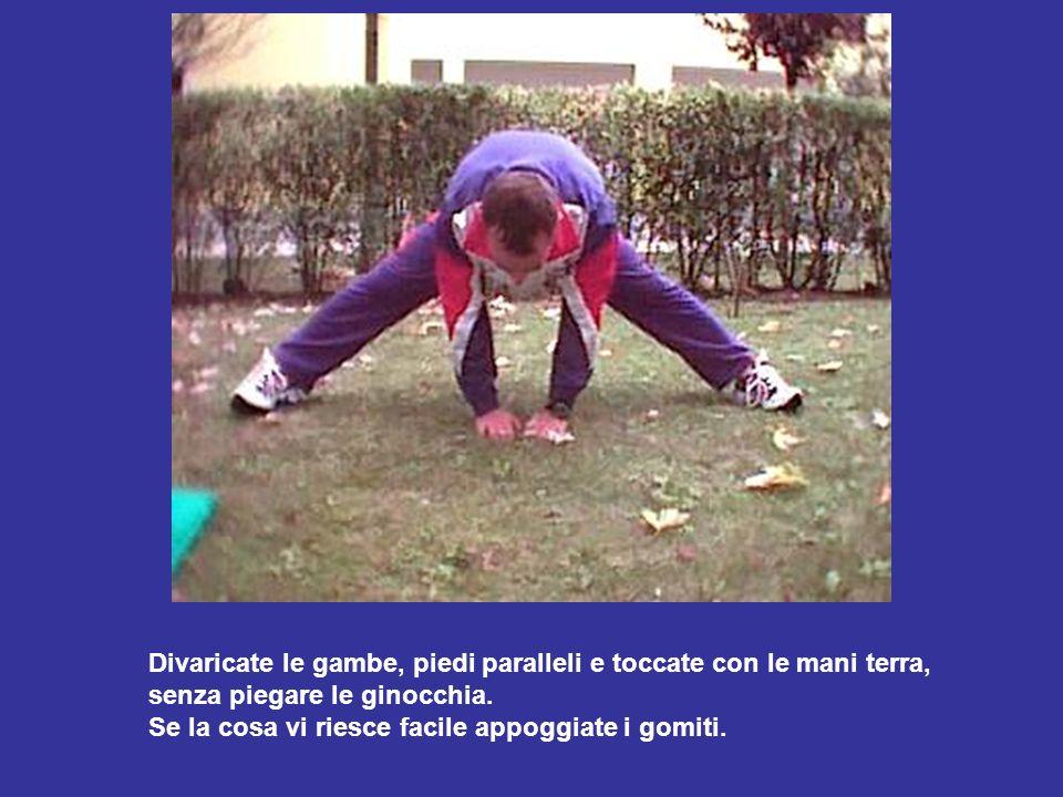 Divaricate le gambe, piedi paralleli e toccate con le mani terra, senza piegare le ginocchia. Se la cosa vi riesce facile appoggiate i gomiti.