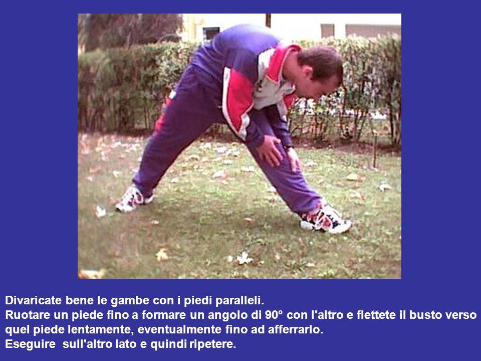 Divaricate bene le gambe con i piedi paralleli. Ruotare un piede fino a formare un angolo di 90° con l'altro e flettete il busto verso quel piede lent