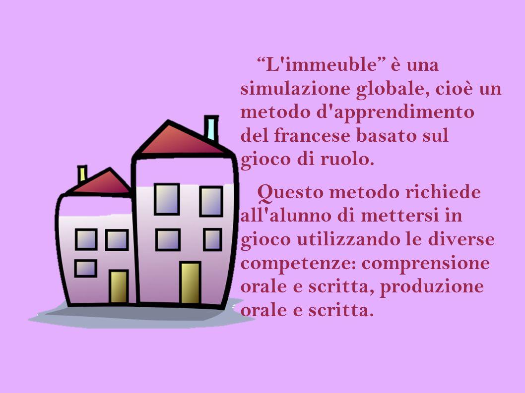 L'immeuble è una simulazione globale, cioè un metodo d'apprendimento del francese basato sul gioco di ruolo. Questo metodo richiede all'alunno di mett
