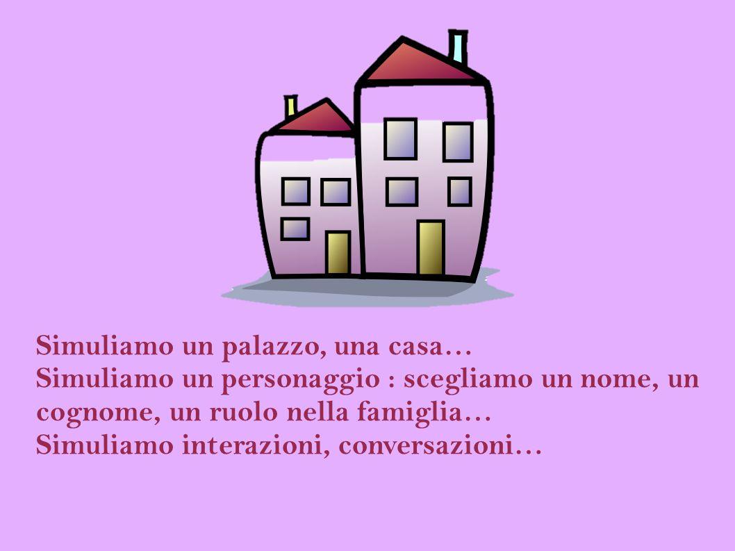 Simuliamo un palazzo, una casa… Simuliamo un personaggio : scegliamo un nome, un cognome, un ruolo nella famiglia… Simuliamo interazioni, conversazion
