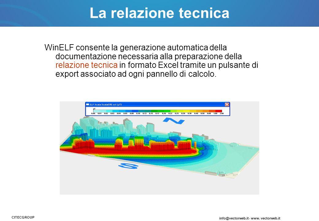 La relazione tecnica info@vectorweb.it - www. vectorweb.it CITECGROUP WinELF consente la generazione automatica della documentazione necessaria alla p